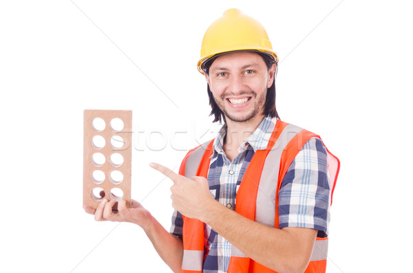 Young bricklayer with brick isolated on white Stock photo © Elnur