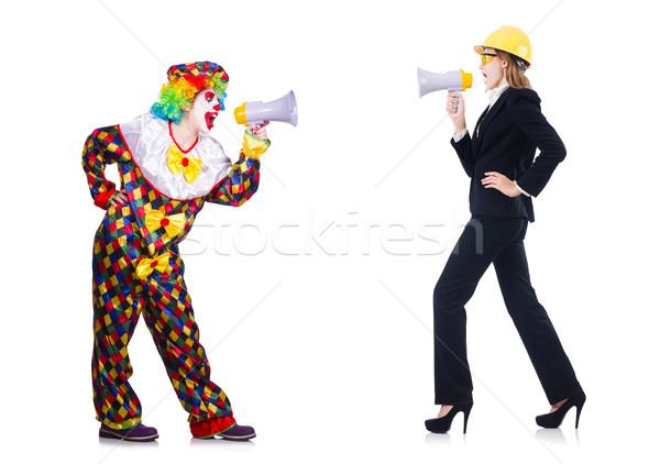 Femmes casque haut-parleur blanche affaires femme Photo stock © Elnur