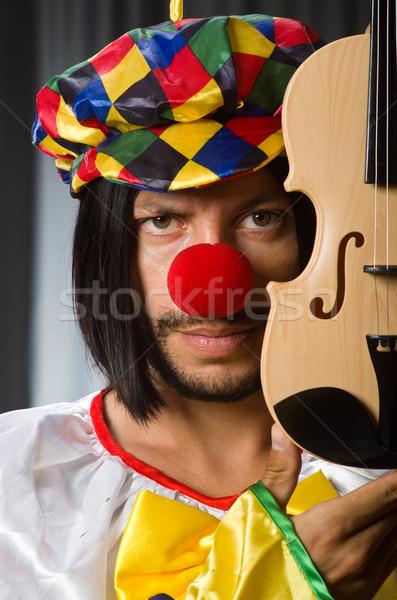 Funny payaso violín cortina música sonrisa Foto stock © Elnur