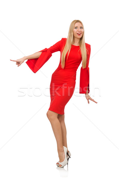 Pretty woman in red dress isolated on white Stock photo © Elnur