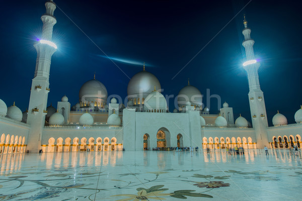 Сток-фото: мечети · здании · ночь · Восход · темно · Панорама