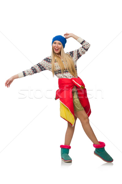 A girl in bright winter clothes isolated on white Stock photo © Elnur