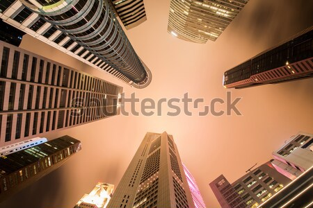 Singapour nuit affaires ciel coucher du soleil lumière Photo stock © Elnur