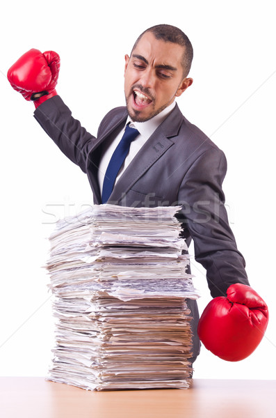 öfkeli işadamı kağıtları saat çalışmak Stok fotoğraf © Elnur