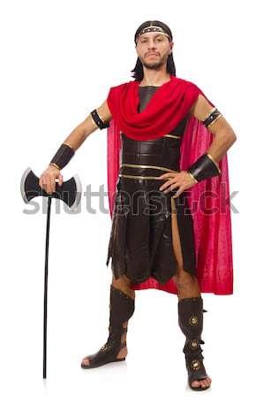 Gladiátor tart kard izolált fehér férfi Stock fotó © Elnur