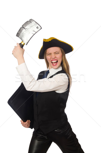 Pretty pirate girl holding case and chopper isolated on white Stock photo © Elnur