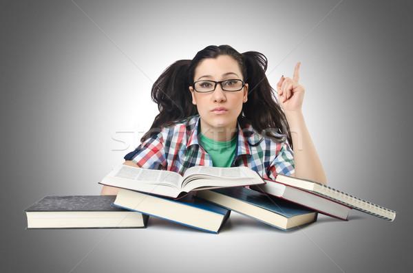 öğrenci sınavlar kadın kitap okul mutlu Stok fotoğraf © Elnur