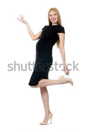 Genç bayan zarif siyah elbise yalıtılmış beyaz Stok fotoğraf © Elnur