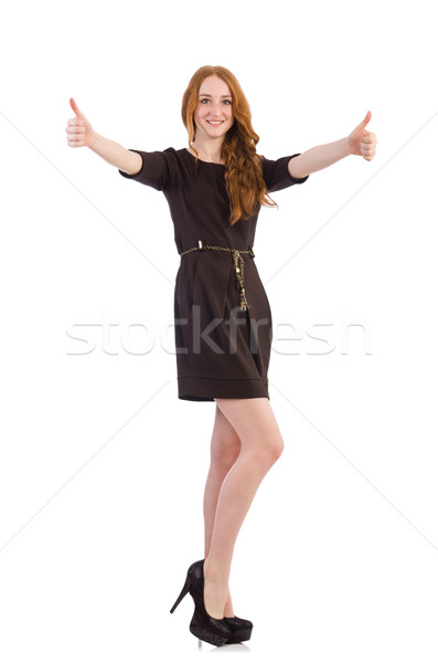 Pretty red hair girl in brown dress isolated on white Stock photo © Elnur