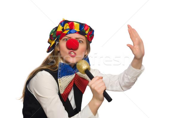 Pretty female clown with maracas isolated on white Stock photo © Elnur