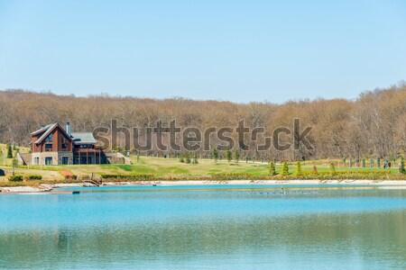 Stockfoto: Moderne · huis · water · heldere · dag · hemel