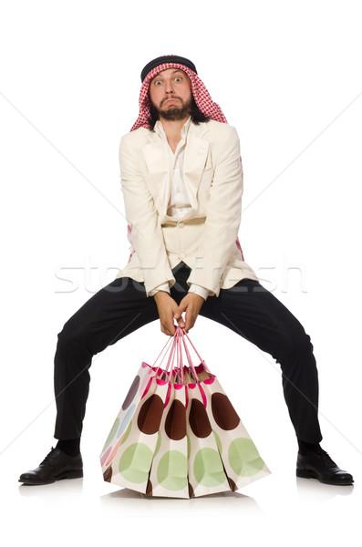 Arab man with shopping bags on white Stock photo © Elnur
