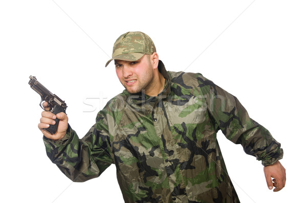 Solider holding gun isolated on white Stock photo © Elnur