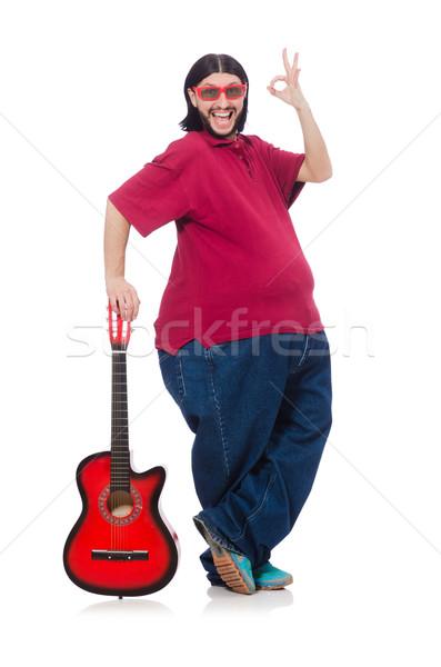 Gordo guitarra aislado blanco música salud Foto stock © Elnur