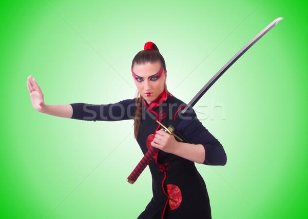 Kobieta japoński sztuki walki sportu tle wojny Zdjęcia stock © Elnur