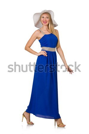 Beautiful woman in long blue dress isolated on white Stock photo © Elnur
