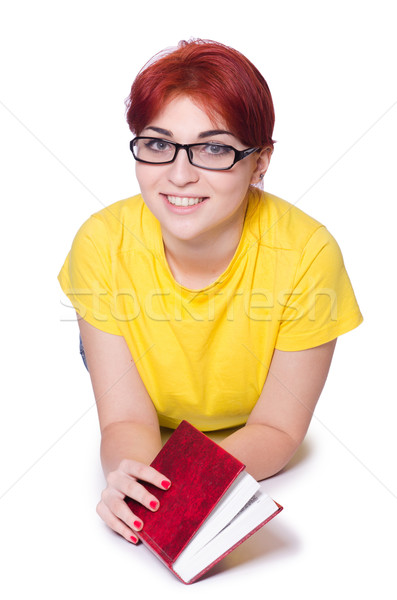 Student meisje boeken geïsoleerd witte vrouw Stockfoto © Elnur