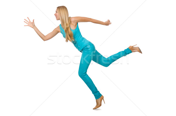 Pretty blond woman in blue pants and shirt isolated on white Stock photo © Elnur