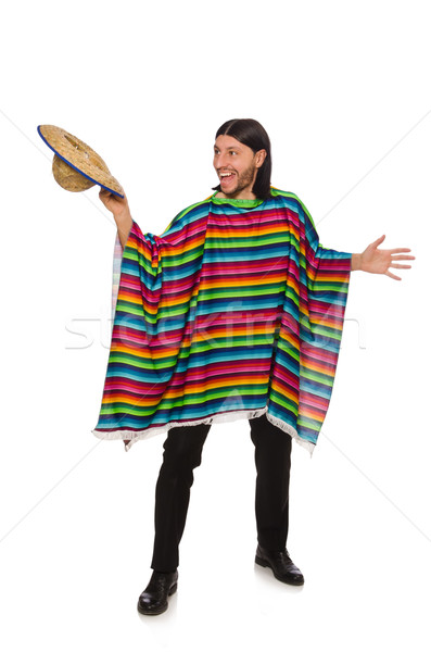 Handsome man in vivid poncho isolated on white Stock photo © Elnur