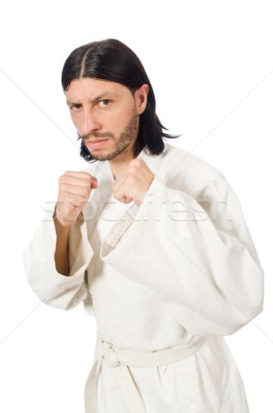 Karate myśliwiec odizolowany biały sportu chłopca Zdjęcia stock © Elnur