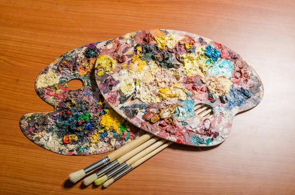 Artista paleta arte agua escuela pintura Foto stock © Elnur