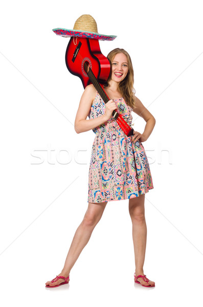 Woman in musical concept with guitar on white Stock photo © Elnur