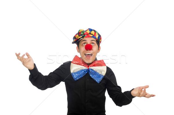 Stockfoto: Grappig · clown · geïsoleerd · witte · glimlach · verjaardag