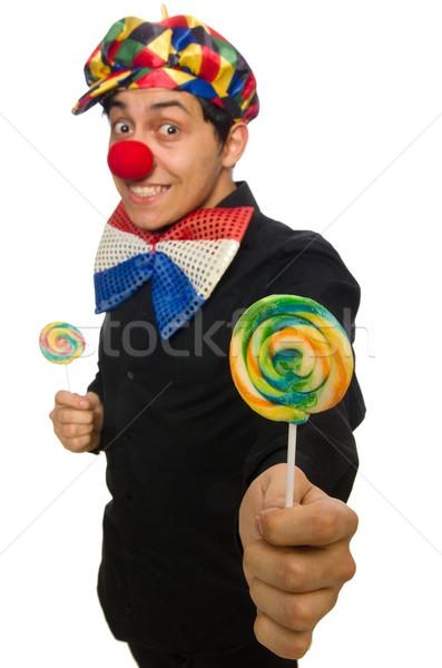 Funny clown odizolowany biały uśmiech szczęśliwy Zdjęcia stock © Elnur