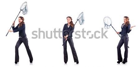 Nő net izolált fehér tavasz kéz Stock fotó © Elnur