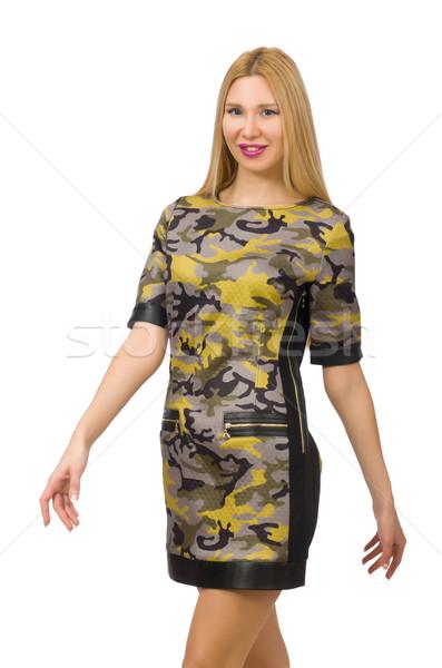 Stok fotoğraf: Kafkas · kız · askeri · stil · elbise · yalıtılmış