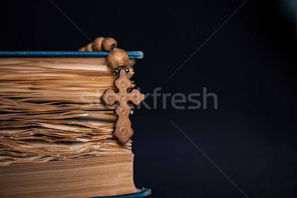 Библии крест религиозных древесины свет Иисус Сток-фото © Elnur