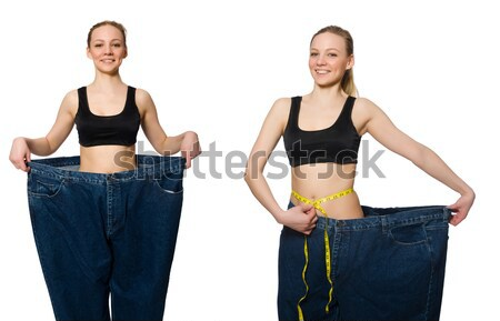 Jeune fille centimètre régime femme fille santé Photo stock © Elnur
