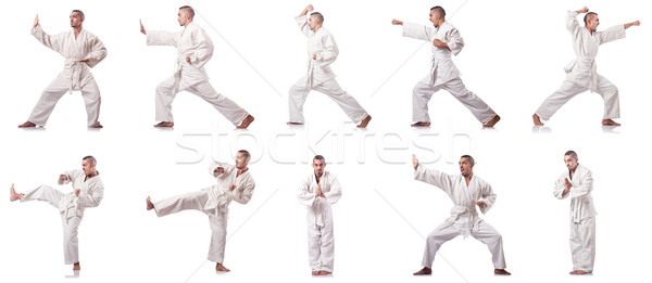 The collage of karate player in kimono isolated on white Stock photo © Elnur