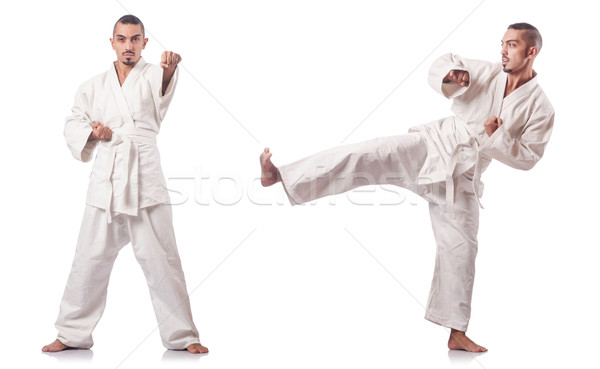 Collage of karate player in kimono isolated on white Stock photo © Elnur