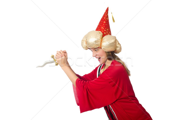 Woman wizard in red clothing isolated on white Stock photo © Elnur
