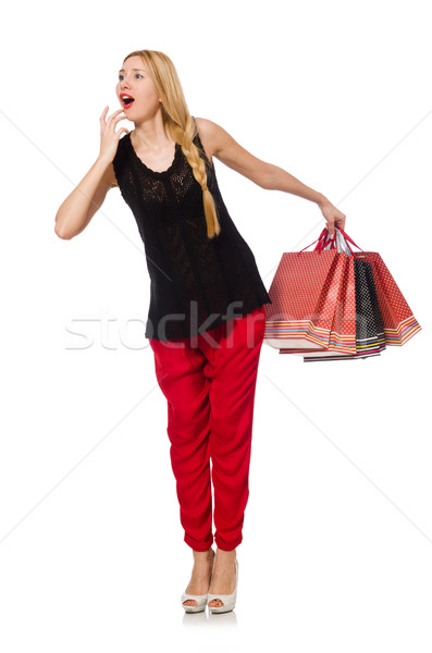 Young caucasian woman with plastic bags isolated on white Stock photo © Elnur