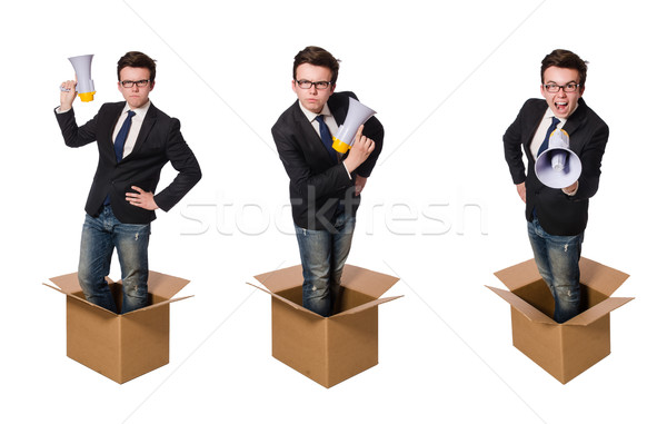 Man with loudspeaker in the box Stock photo © Elnur