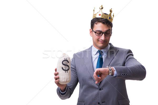 Kral işadamı para çanta yalıtılmış Stok fotoğraf © Elnur