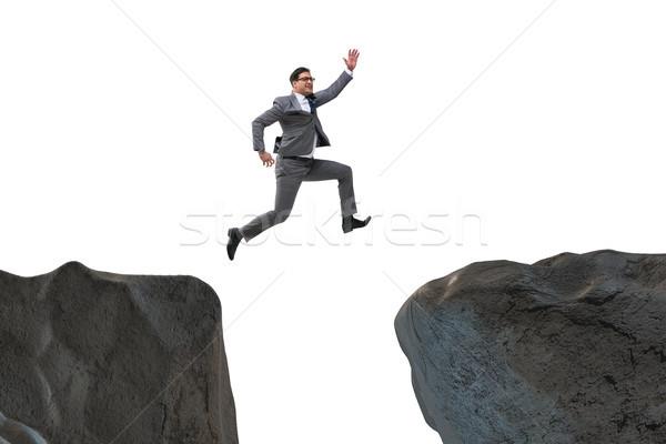 Foto d'archivio: Ambizioso · imprenditore · jumping · rupe · uomo · montagna