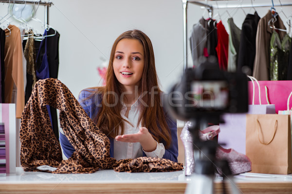 Divat blogger videó blog üzlet nő Stock fotó © Elnur