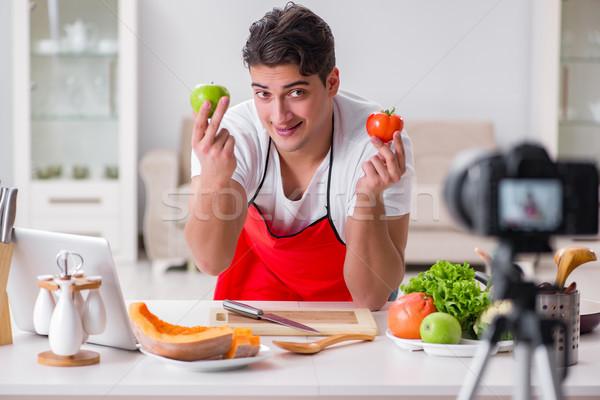 Food blogger working in the kitchen Stock photo © Elnur