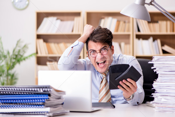 Funny accountant bookkeeper working in the office Stock photo © Elnur