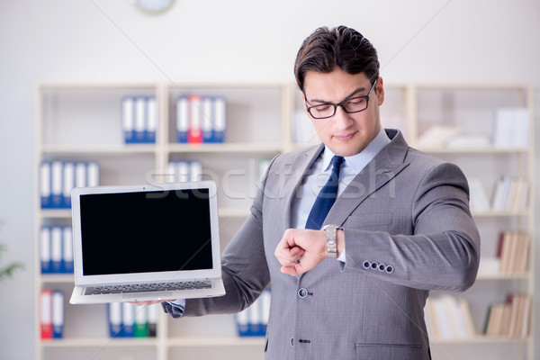 Foto d'archivio: Giovani · imprenditore · lavoro · ufficio · computer · clock