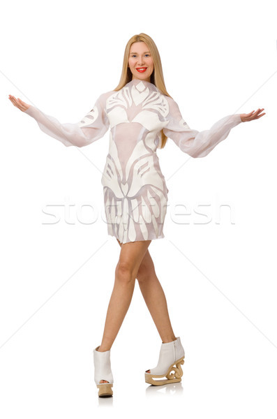 Woman wearing white dress isolated on white Stock photo © Elnur