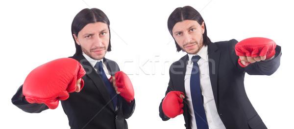 Empresário luvas de boxe branco negócio trabalhar retrato Foto stock © Elnur