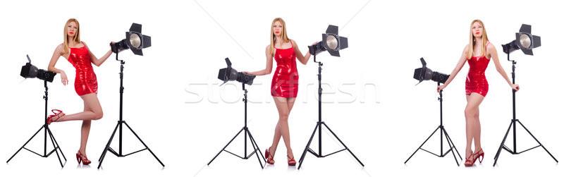 Stock fotó: Fiatal · modell · stúdió · divat · lámpa · fények