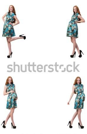 Kobieta w ciąży obraz odizolowany biały moda Zdjęcia stock © Elnur