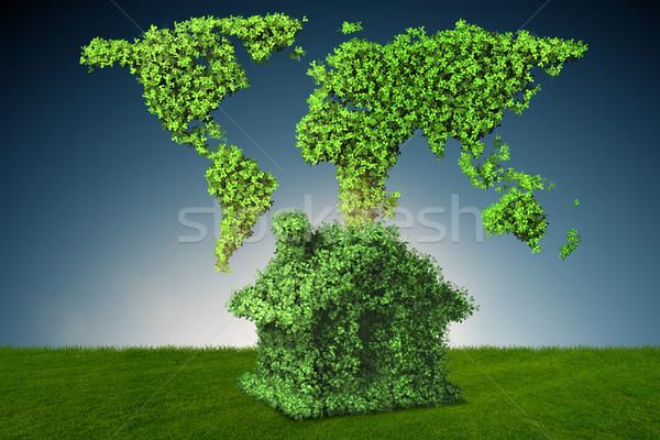 Groene energie huis 3D voorjaar stad Stockfoto © Elnur