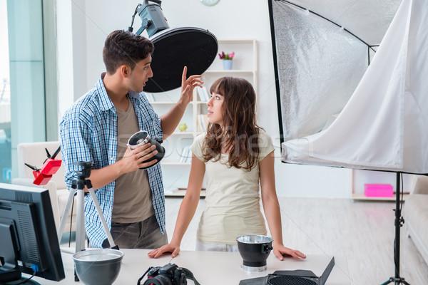 Genç fotoğrafçı çalışma fotoğraf stüdyo bilgisayar Stok fotoğraf © Elnur