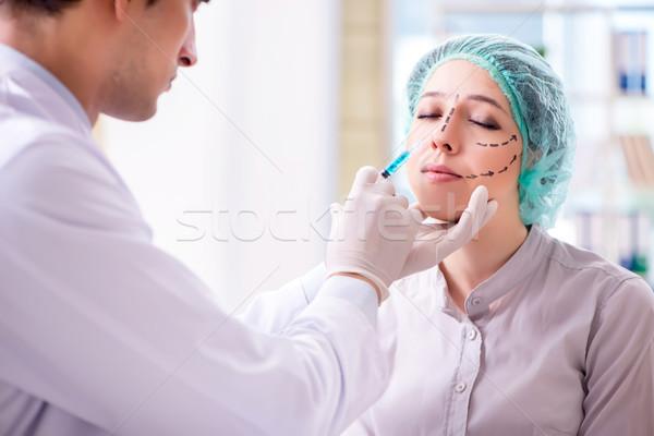 Műanyag sebész operáció női arc nő lány Stock fotó © Elnur